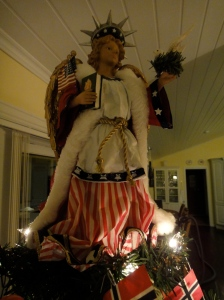 And just to even out all those Norwegian flags on the tree, an American angel