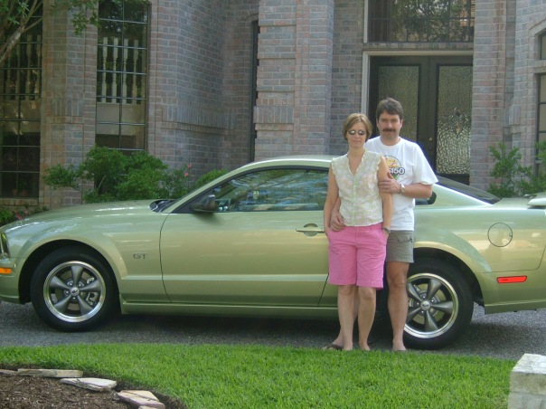 Harry and I in front of the house in Houston